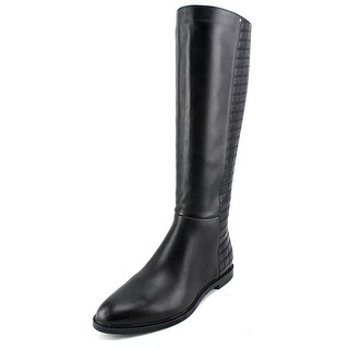 Calvin Klein Donnily Women Pointed Toe Leather Black Knee High Boot