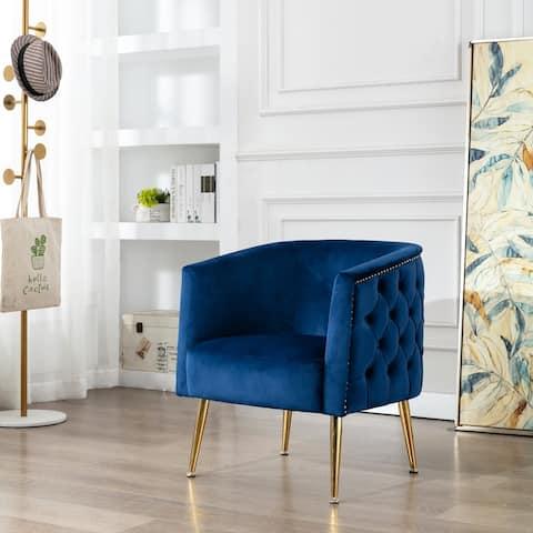 Corvus Tyrol Velvet Curved Back Barrel Accent Chair