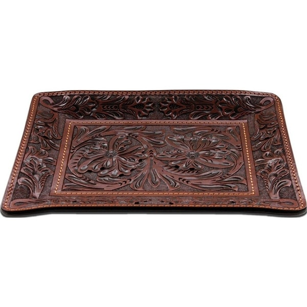 "3D Western Valet Tray Floral Embossed Leather 9"" x 7"" Tan HD102"
