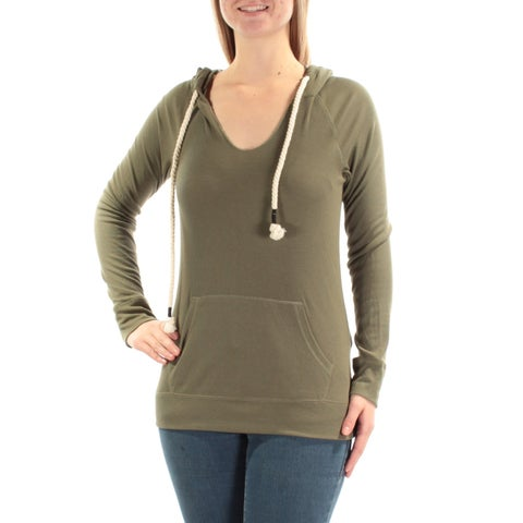 Womens Green Long Sleeve V Neck Casual Sweater Size M