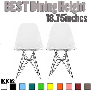 Link to 2xhome Set of 2 Modern Designer Style Transparent Dining Room Kitchen Chair with Chrome Eiffel Wire Legs No Arm Armless Seat Similar Items in Dining Room & Bar Furniture