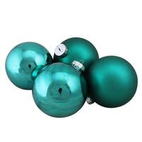 "4-Piece Shiny and Matte Turquoise Blue Glass Ball Christmas Ornament Set 4"" (100mm)"