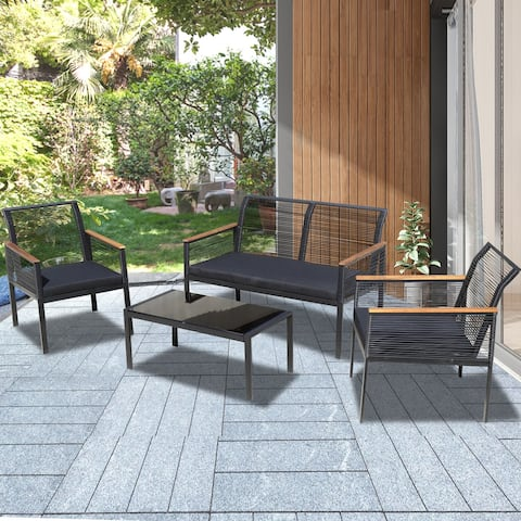 4-piece Black Wicker Cord Patio Furniture Sofa Conversation Set