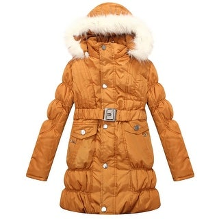 Richie House Girls' Padded Winter Jacket with Belt and Faux Fur Hood