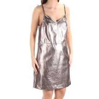 1. STATE $129 Womens New 1125 Silver V Neck Sleeveless A-Line Dress 4 B+B