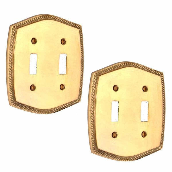 2 Switchplate Bright Solid Brass Double Toggle