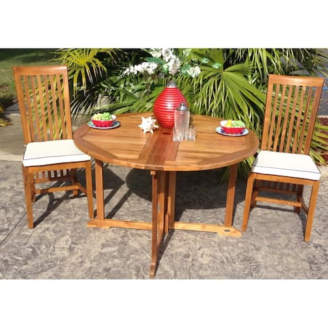Chic Teak Butterfly Round Teak Wood Outdoor Patio Folding Dining Table, 47 Inch