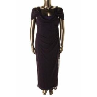 Alex Evenings Womens Chiffon Drape Neck Formal Dress