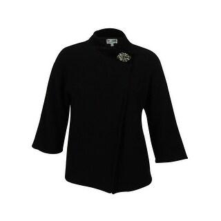 JM Collection Women's Embellished Wool Wrap Sweater (Deep Black, 2X) - Deep Black - 2x