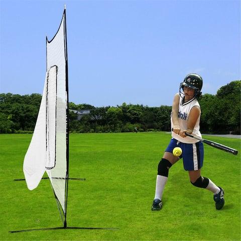 NewAge 7ft Baseball Softball Practice Hitting Batting Training Net Bow Frame Black Bag
