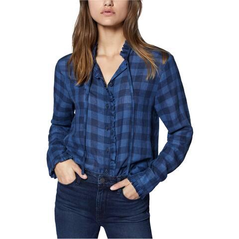 Sanctuary Clothing Womens Tie-Neck Button Up Shirt