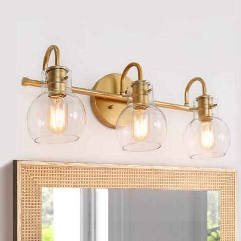 Carson Carrington Modern Gold 3-light Bathroom Vanity Lights Wall Sconces