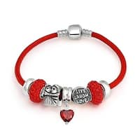 Love Anniversary Relationship Heart Valentine European Bead Charms Bracelet Genuine Leather For Women Sterling Silver