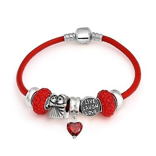 Bling Jewelry Anniversary Love CZ Red Heart Charm 925 Sterling Silver Bead Bracelet