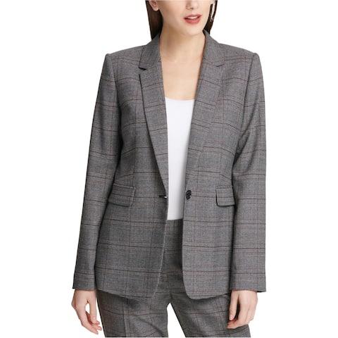 DKNY Womens Plaid Blazer Jacket, Grey, 18