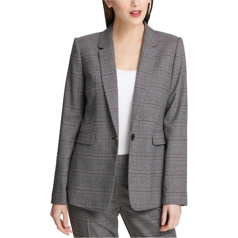Dkny Womens Plaid Blazer Jacket