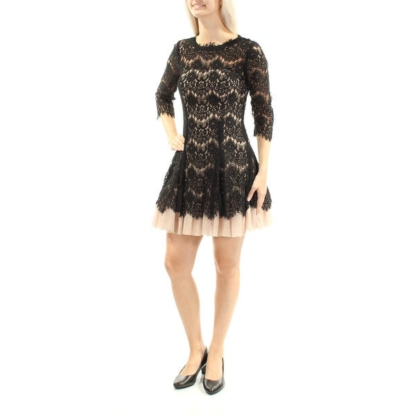Shop BETSY   ADAM Womens Black Lace 3 4 Sleeve Jewel Neck Mini Fit + Flare  Cocktail Dress Petites Size  6 - Free Shipping Today - - 23451781 ff4026bc9