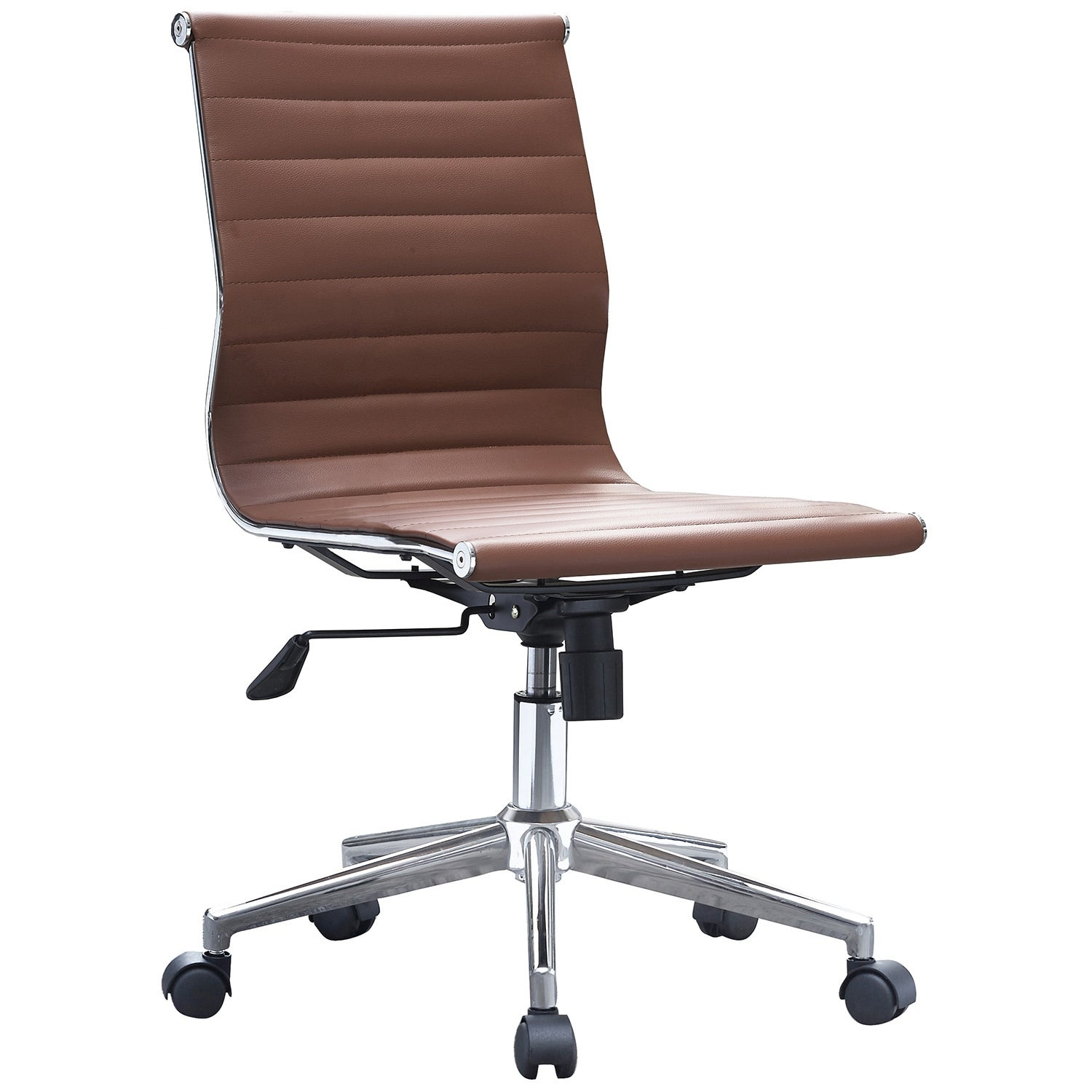 2xhome Swivel Adjustable Height Pu Leather Office Chair Mid Back Armless No Arms Side Ribbed Executive Ergonomic Task Work On Sale Overstock 14390900