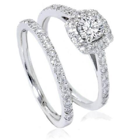 1 ct Diamond Cushion Halo Engagement Wedding Ring Set 14k White Gold
