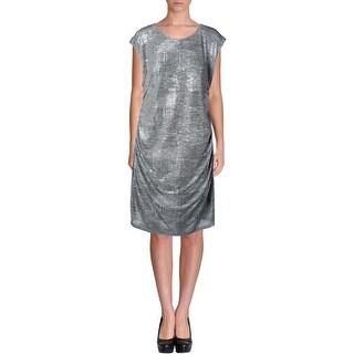 Calvin Klein Womens Wear to Work Dress Metallic Cap Sleeves