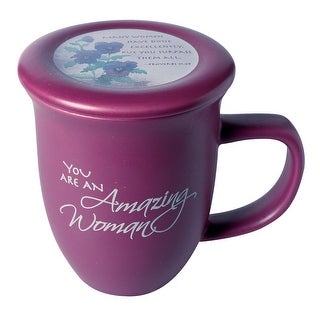 Amazing Woman Ceramic Mug &Coaster/Lid - 14 Ounce Coffee/Tea Cup - Dusky Purple - 4 in. x 4 in. x 5.25 in.