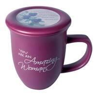 Amazing Woman Ceramic Mug &Coaster/Lid - 14 Ounce Coffee/Tea Cup - Dusky Purple - 4 in. x 4 in. x 5.25 in.