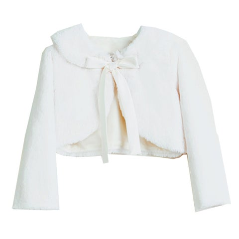 Sweet Kids Baby Girls Ivory Faux Fur Ribbon Long Sleeve Bolero Jacket