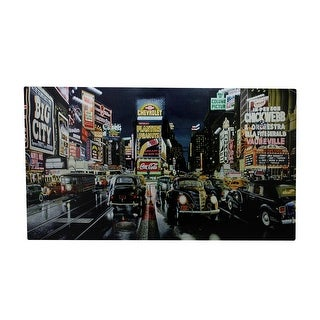 "LED Lighted Fiber Optic NYC Times Square Classic Cars Canvas Wall Art 15.75"" x 23.75"""