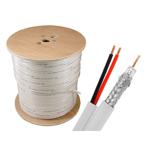 Sewell Bulk RG6+Power Siamese Cable 1000 ft. Spool, White, Indoor