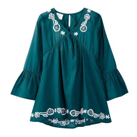Azul Little Girls Slate Blue Bell Sleeve Embroidered Tunic Cover Up