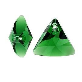 Swarovski Crystal, 6628 Xilion Triangle Pendant 16mm, 2 Pieces, Dark Moss Green