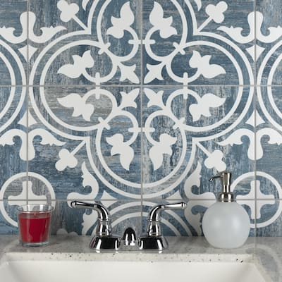 """SomerTile Cassis Arte Blue Day 9.75"""" x 9.75"""" Porcelain Floor and Wall Tile"""