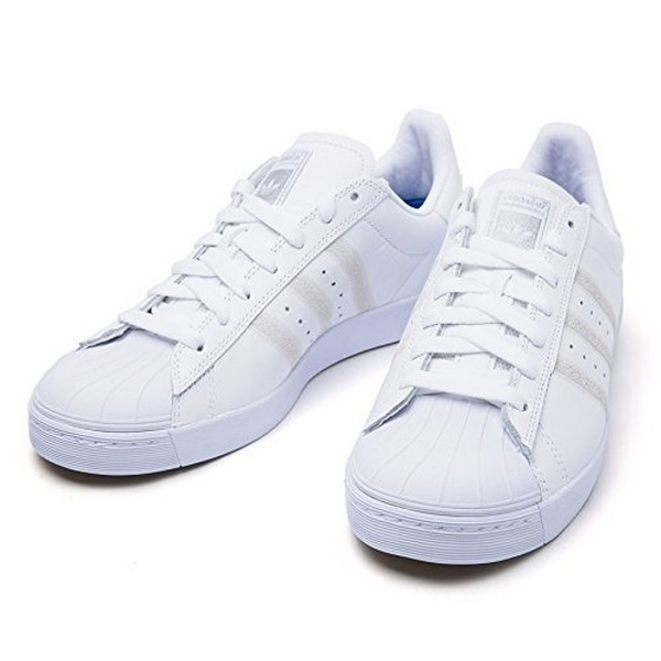 Adidas Mens Superstar Vulc Adv, Ftwwht,Ftwwht,Silvmt, 4.5