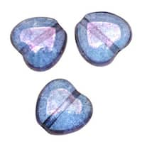 Czech Pressed Glass - Heart Shaped Beads 8.5x7.5mm 'Transparent Amethyst' (25)