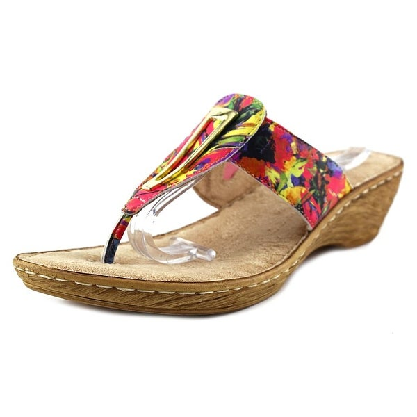 Bella Vita Sulmona Women W Open Toe Leather Multi Color Wedge Sandal