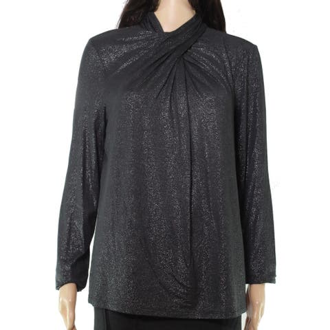 Lauren by Ralph Lauren Womens Blouse Gray Size XL Metallic Mock Neck