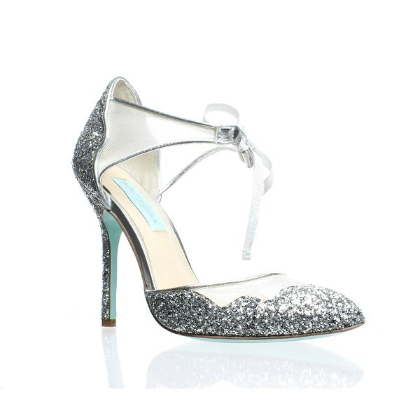 8b7b17acb9fa6 Shop Blue by Betsey Johnson Womens Stela Silver Glitter Ankle Strap ...