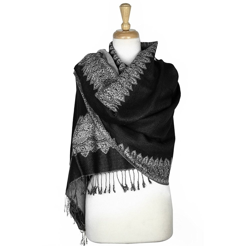 "Pashmina Shawl Scarf Wrap Border Pattern Double Layered Reversible - 28"" x 70"" - Thumbnail 0"