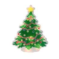 """12.5"""" Lighted Holographic Christmas Tree Window Silhouette Decoration - RED"""