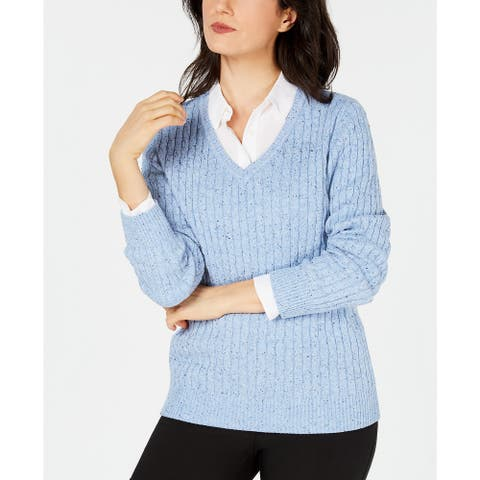 Karen Scott Women's Cable-Knit V-Neck Sweater Blue Size Large