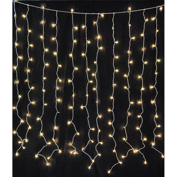Christmas at Winterland WL-CUR150WW-LED-W 6 Foot Square Warm White LED Light Curtain - CLEAR - N/A