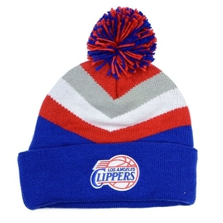 Los Angeles Clippers Mitchell & Ness V Stripe Current Logo Knit Hat with Pom