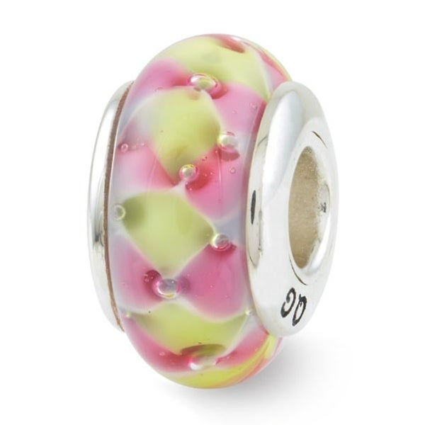 Sterling Silver Reflections Pink/Yellow Hand-blown Glass Bead