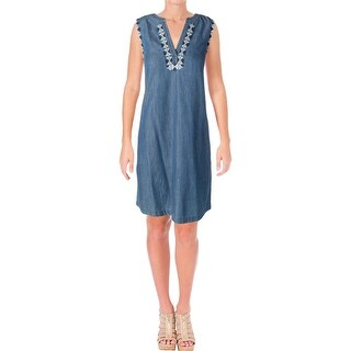 Vince Camuto Womens Casual Dress Chambray Embroidered