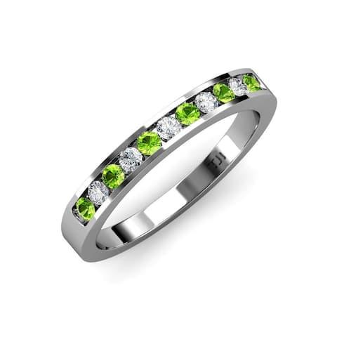 TriJewels Peridot Diamond 1/3 ctw Womens Wedding Band 14K White Gold - Green
