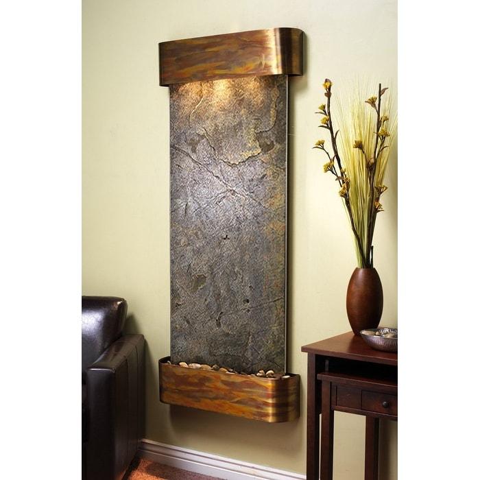 Adagio Inspiration Falls Fountain w/ Green Featherstone in Rustic Copper Finish - Thumbnail 0