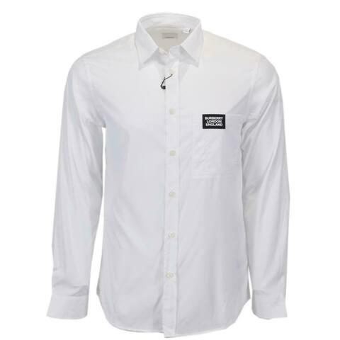 Burberry Men's White Cotton SOLOMAN Patch Logo Dress Shirt