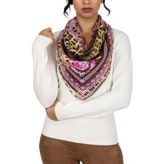 Versace Purple Pschydelic Greca Print Silk Foulard Scarf