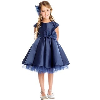 Sweet Kids Little Girls Navy Pleated Mesh Under Layer Christmas Dress