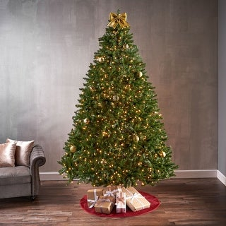Link to 9-foot Norway Spruce Pre-Lit String Light or Unlit Hinged Artificial Christmas Tree by Christopher Knight Home Similar Items in Christmas Greenery